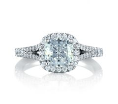 Split Shank Open Bridge Halo Cushion Engagement Ring