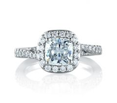 Open Bridge Halo Cushion Engagement Ring
