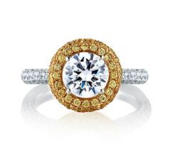 """Forevermark """"Light Of My Life"""" Halo with Natural Yellow Diamonds and White Diamonds Encrusted Shank"""