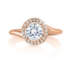 """Rose Gold Swirl Diamond with Natural Pink Diamonds Embedded in Signature """"A"""" Engagement Ring"""