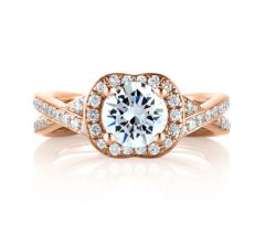 """Rose Gold Crossover Diamond with Natural Pink Diamonds Embedded in Signature """"A"""" Engagement Ring"""