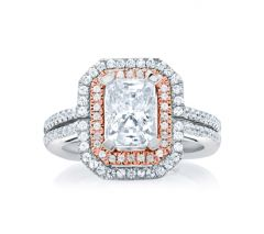 Double Halo Emerald Cut Rose Gold Diamond Engagement Ring