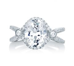 Deco Double Shank Bubble Prong Engagement Ring with Oval Center Diamond