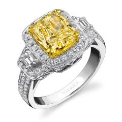 18k White and Yellow Gold Trapezoids Diamond Ring - NK12761FY-WY