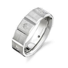 14k White Gold Bezel Round Diamond Men's Band - NK13847-W