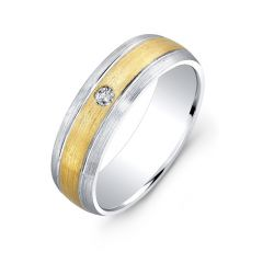 18k White and Yellow Gold Bezel Set White Diamond Wedding Band