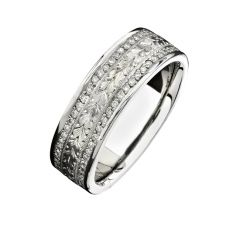 14k White Gold Hand Engraved Diamond Men's Band - NK15384-W
