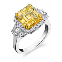 18k White and Yellow Gold Radiant Cut Fancy Yellow Diamond Ring with Trapezoid Side Stones