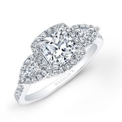 18k White Gold Halo Diamond Engagement Ring with Pear Shaped Side Stones NK25804-18W