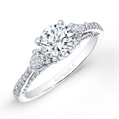 18k White Gold Three Stone Diamond Engagement Ring with Pear Shaped Side Stones NK26627-18W