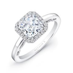 18k White Gold Square Halo Diamond Engagement Ring