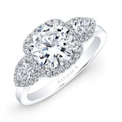 18k White Gold Pear Shaped Side Stone Square Halo Engagement Ring