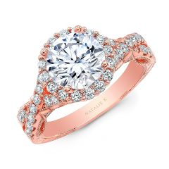 18K ROSE GOLD ROUND SHAPE HALO CRISS CROSS ENGAGEMENT RING NK35964-R