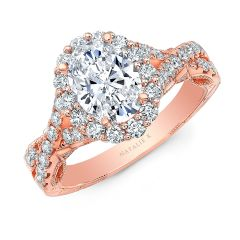 18K ROSE GOLD OVAL SHAPE HALO CRISS CROSS ENGAGEMENT RING NK35969-R