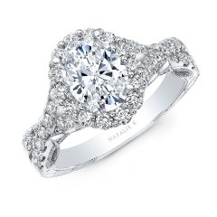 18K WHITE GOLD OVAL SHAPE HALO CRISS CROSS ENGAGEMENT RING NK35969-W