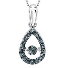 14Kt Blue & White Diamond Rhythm Of Love Pendant 1/5 ctw