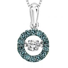 14K Blue & White Diamond Rhythm Of Love Pendant 1/4ctw