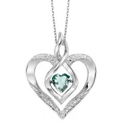 Silver Diamond & Created Aqua Pendant