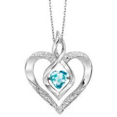 Silver Diamond & Created Blue Topaz Pendant