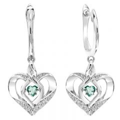 Silver Diamond & Created Aqua Earrings
