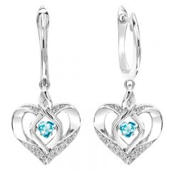 Silver Diamond & Created Blue Topaz Earrings