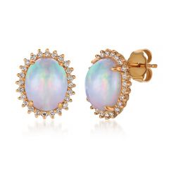 Le Vian® 14k Strawberry Gold® Neopolitan Opal™ and Vanilla Diamond® Halo Earrings