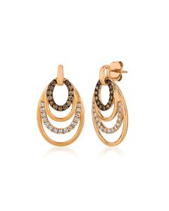 Le Vian Chocolatier® 14k Strawberry Gold® Vanilla and Chocolate Diamond® Concentric Oval Dangle Earrings