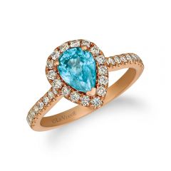 Le Vian Creme Brulee® 14k Strawberry Gold® Pear Shaped Blueberry Zircon™ Halo Ring