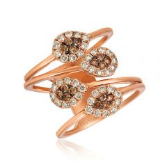 Le Vian Creme Brulee® 14k Strawberry Gold® Chocolate and Vanilla Diamond® Pear Tip Fashion Ring