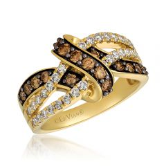 Le Vian Creme Brulee® 14k Honey Gold™ Chocolate and Nude Diamond™ Swirl Band Ring