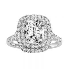 14K Diamond Engagement Ring 1/2 ctw with 1 1/2 ct Cushion Center