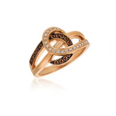 Le Vian Chocolatier® 14k Strawberrry Gold® Vanilla and Chocolate Diamond® Swirl Ring