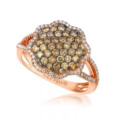 Le Vian Chocolatier® 14k Strawberry Gold® Framed Clusters Ring with Chocolate Diamonds® and Vanilla Diamonds®