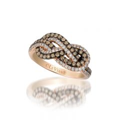 Le Vian Chocolatier® 14k Strawberry Gold® Gladiator® Knots Ring with Chocolate Diamonds® and Vanilla Diamonds®
