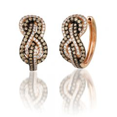 Le Vian Chocolatier® 14k Strawberry Gold® Gladiator® Knots Earings with Chocolate Diamonds® and Vanilla Diamonds®