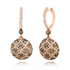 Le Vian Chocolatier® 14k Strawberry Gold® Earings with Chocolate Diamonds® and Vanilla Diamonds®