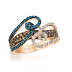 Le Vian Exotics® 14k Strawberry Gold® Iced Blueberry Diamonds Ring with Chocolate Diamonds® and Vanilla Diamonds®