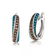 Le Vian Exotics® 14k Vanilla Gold® Iced Blueberry Diamonds Earings with Chocolate Diamonds® and Vanilla Diamonds®