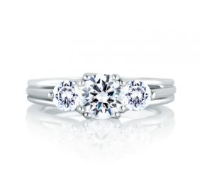 Classic Three Stone Trellis Engagement Ring